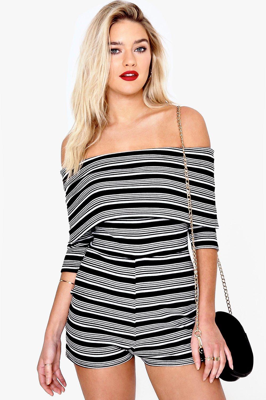 Oversize Bardot Stripe Playsuit black