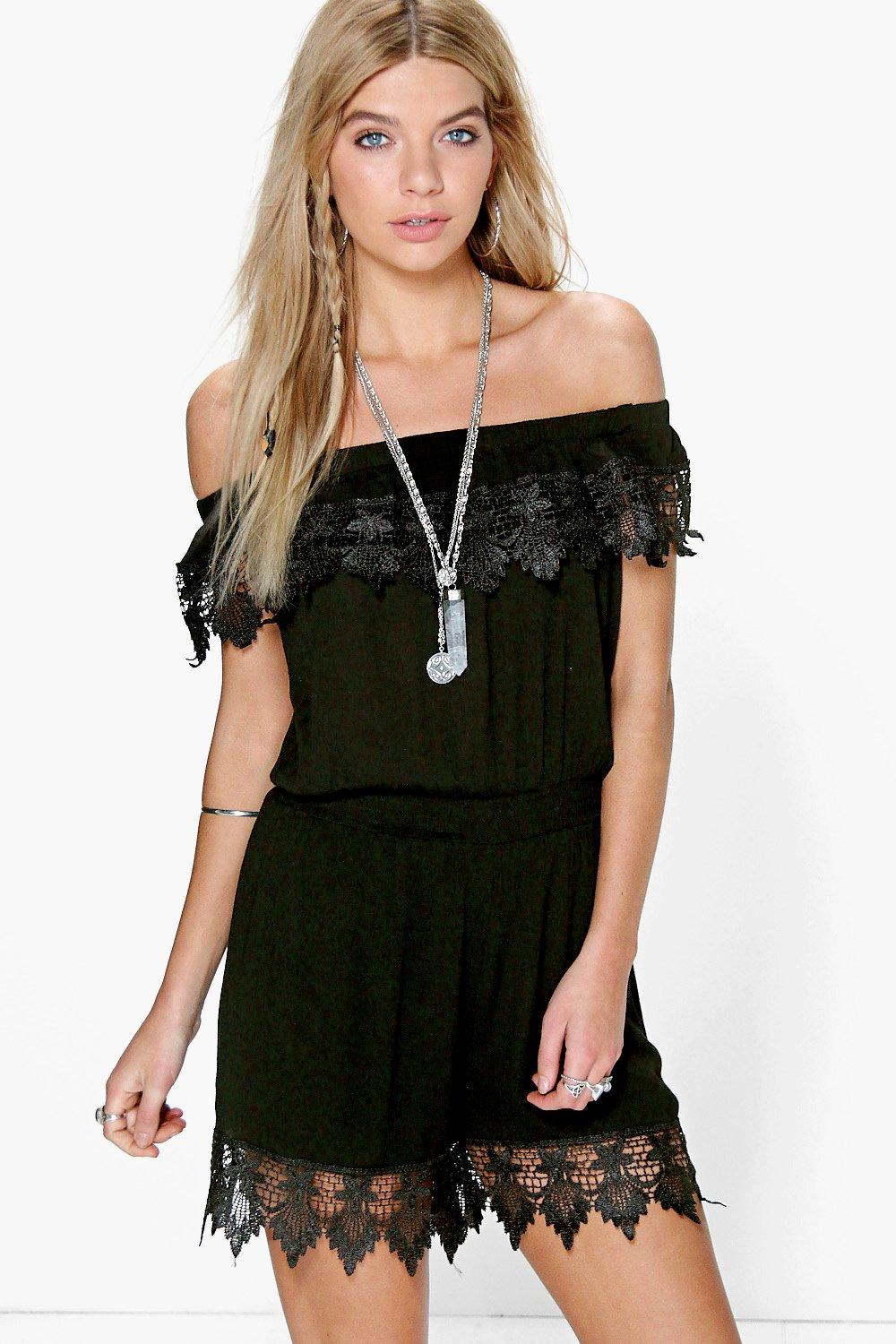 Sally Off The Shoulder Crochet Playsuit