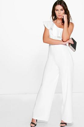 Cora Ruffle Shoulder Wide Leg Jumpsuit