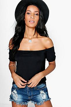 Alexis Off The Shoulder Ruche Sleeve Crop
