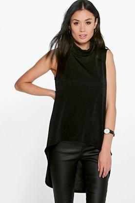 Sofia Premium Slinky Roll Neck Sleeveless Tunic