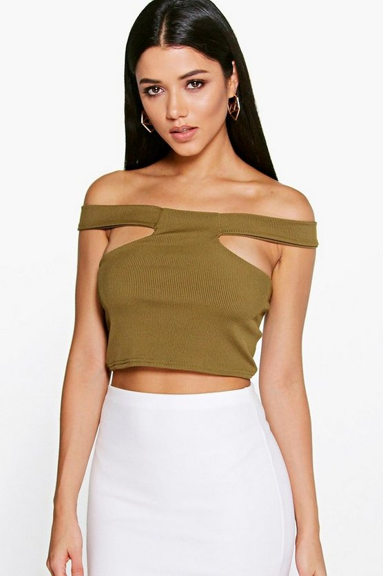 Eliza Off The Shoulder Rib Cut Out Crop