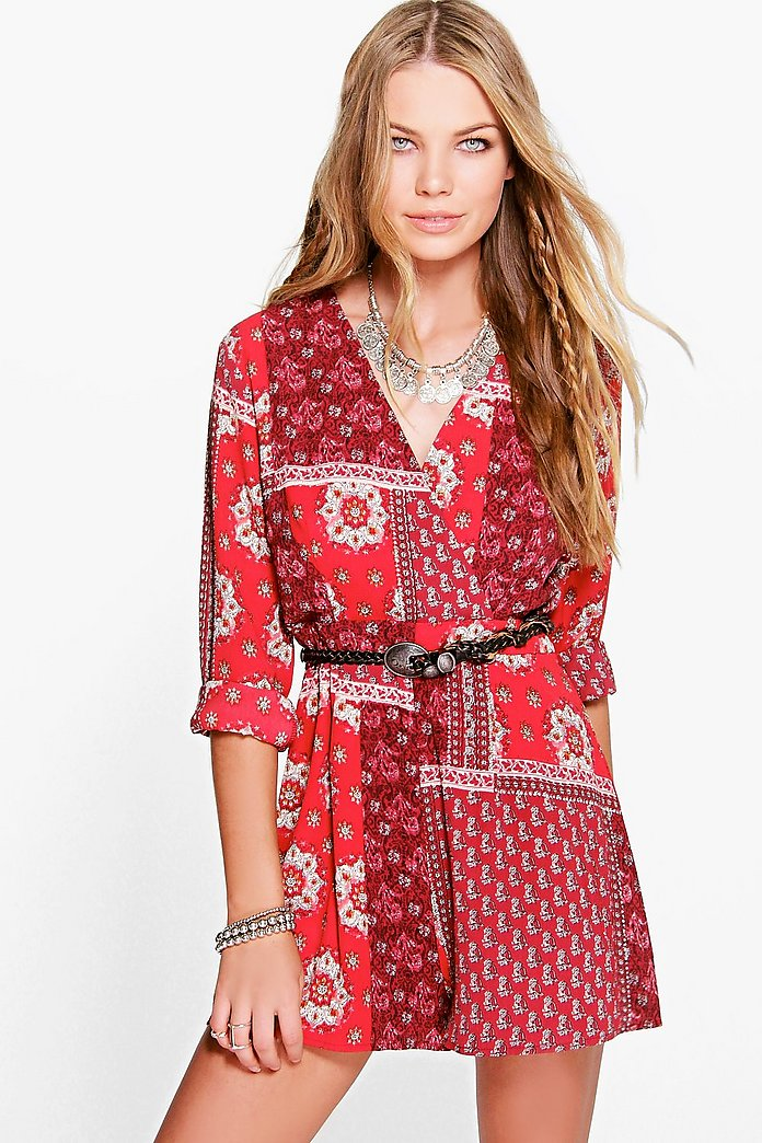 Molly Boho Playsuit Wrap Front Playsuit