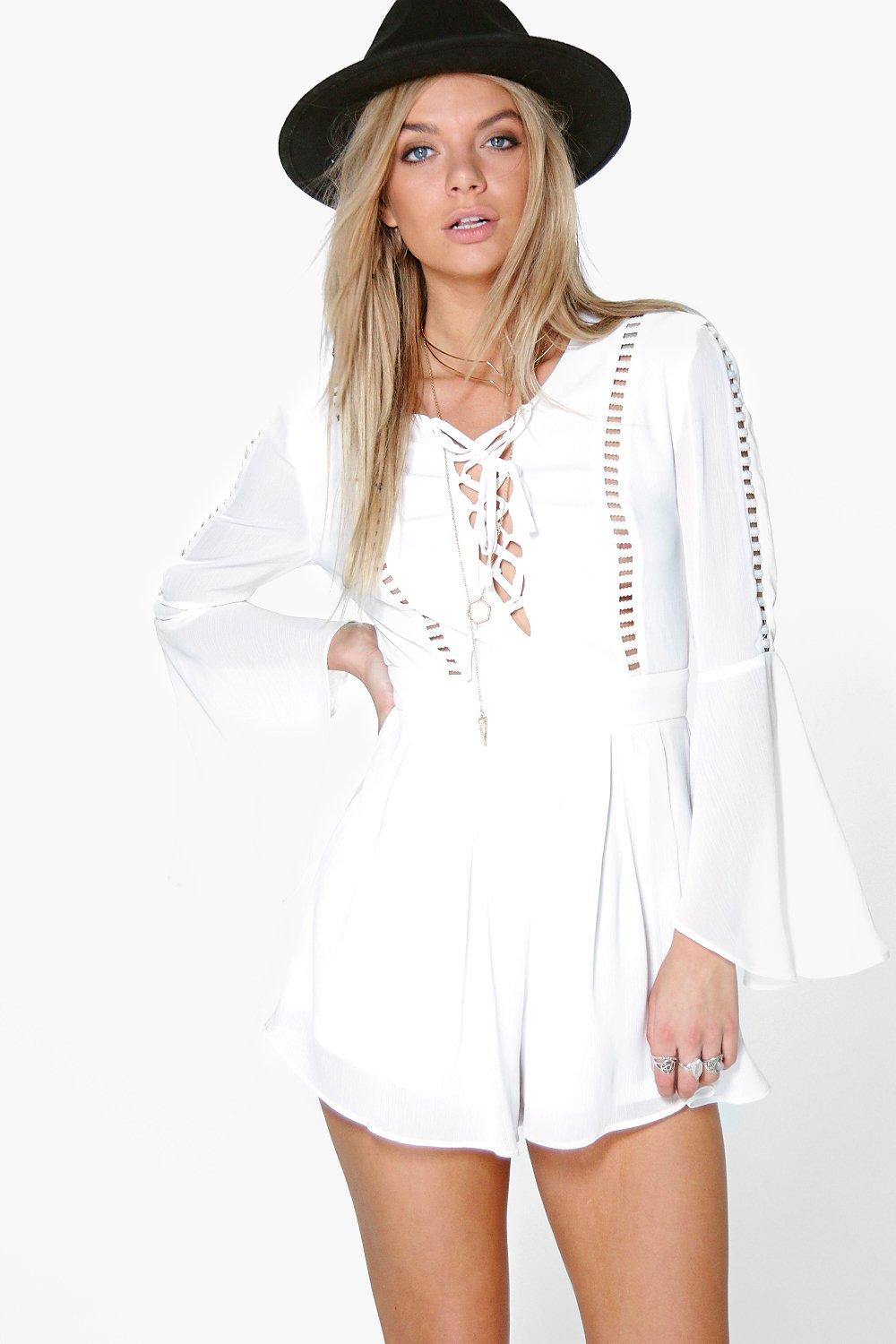 Emily Flute Sleeve Trimmed Chiffon Playsuit