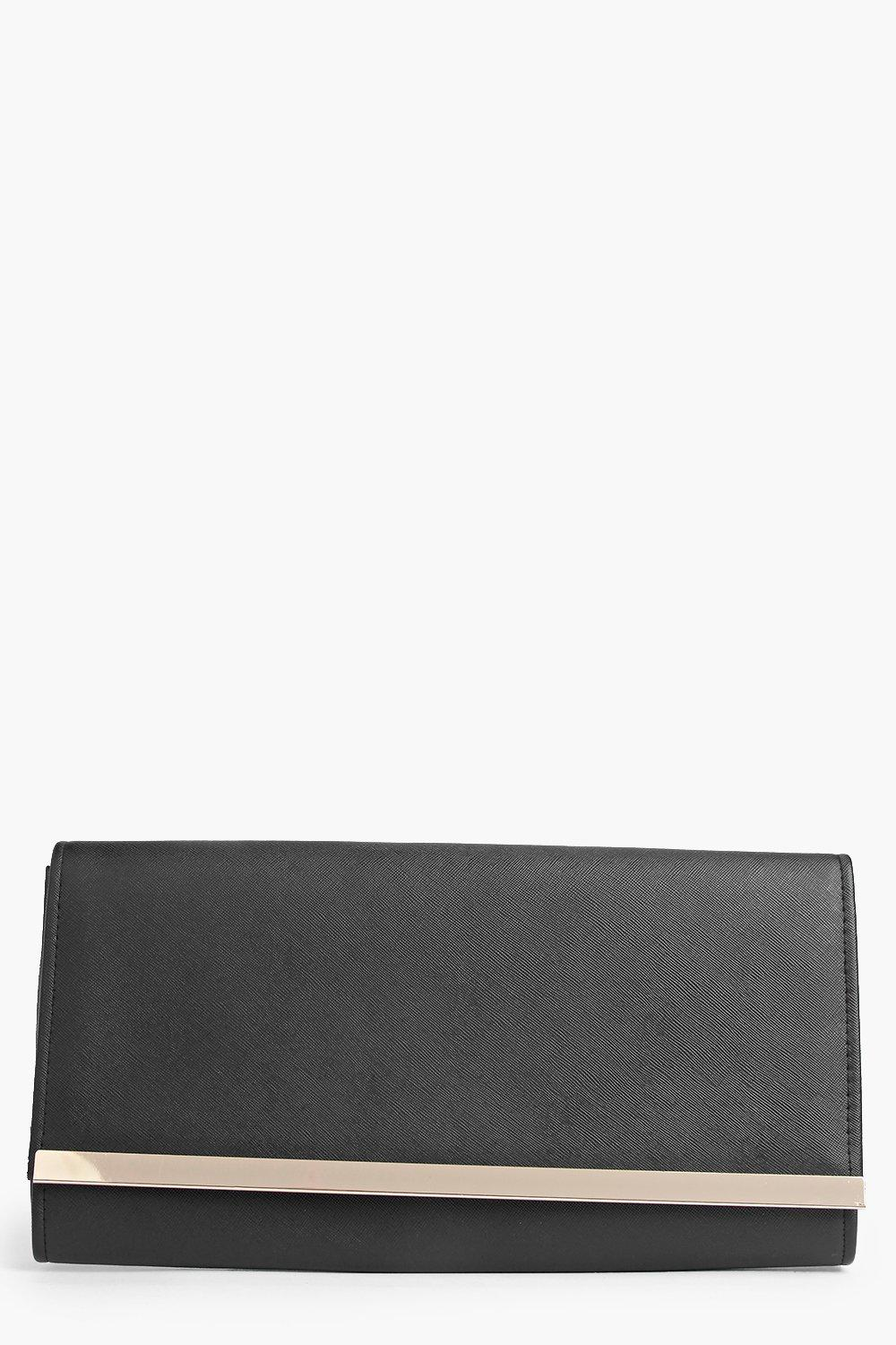 PU Metal Bar Clutch Bag black