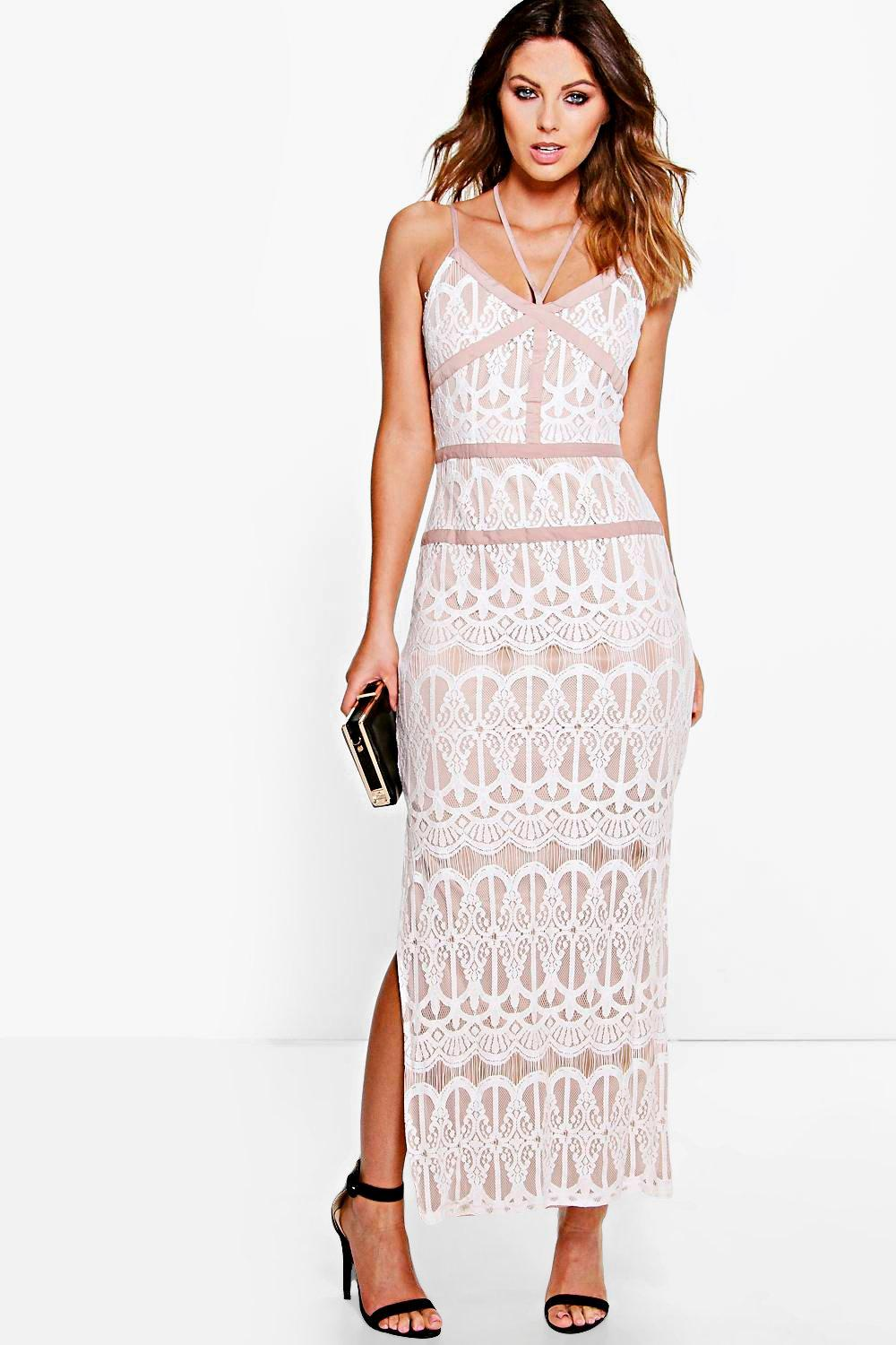 Boutique Inga Lace Panelled Strappy Maxi Dress