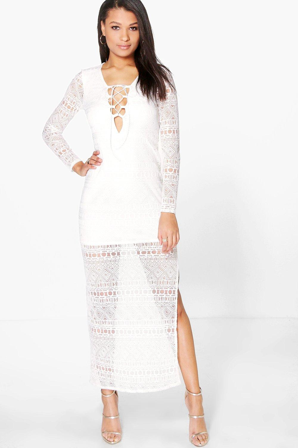 Alexandria Burnout Lace Up Maxi Dress