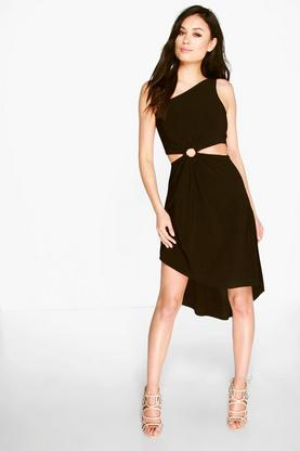 Eve One Shoulder Asymmetric Waist Detail Midi Dress