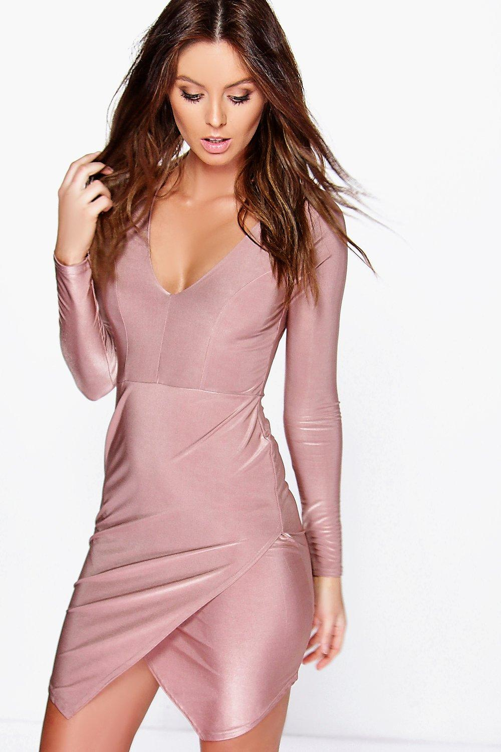 Kira Panelled Long Sleeve Wrap Bodycon Dress