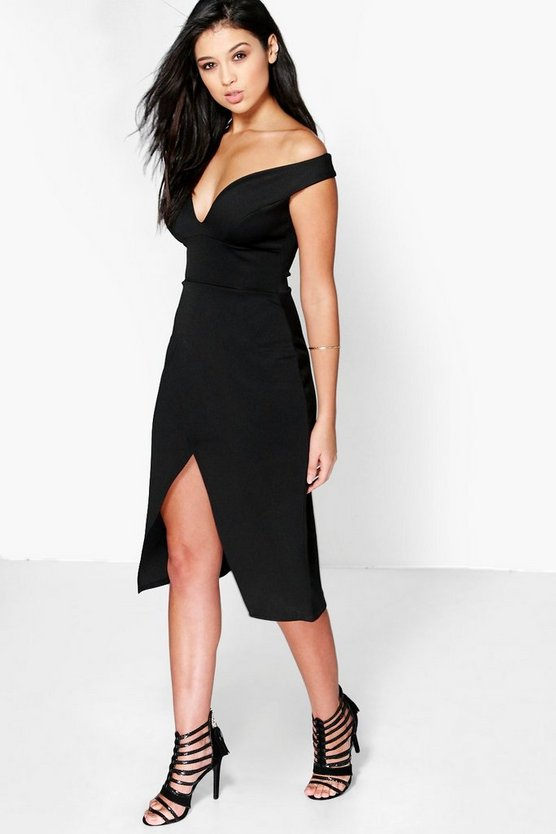 Harper Off The Shoulder Wrap Skirt Midi Dress