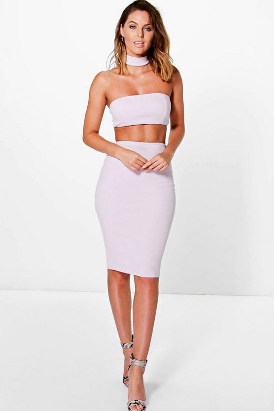 Jelena Choker Cut Out Bandeau Midi Dress