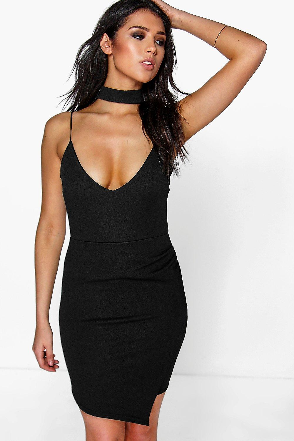 Kiki High Choker Strap Wrap Bodycon Dress