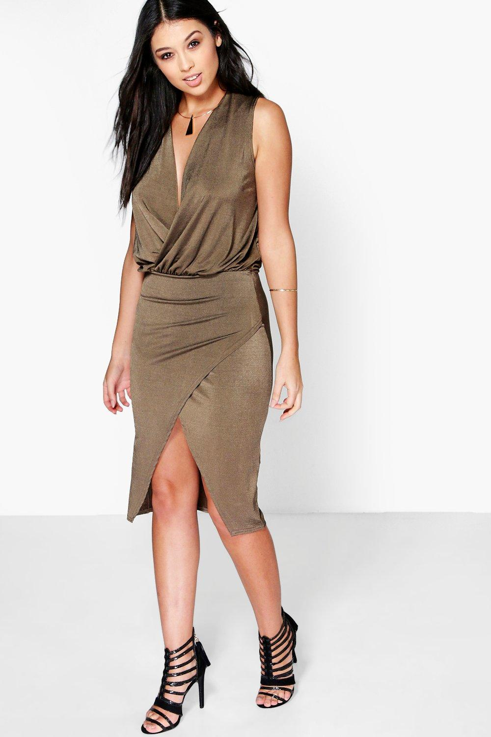 Cecilia Wrap Detail Sleeveless Midi Dress
