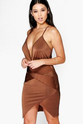 Ria Wrap Skirt Detail Plunge Neck Bodycon Dress