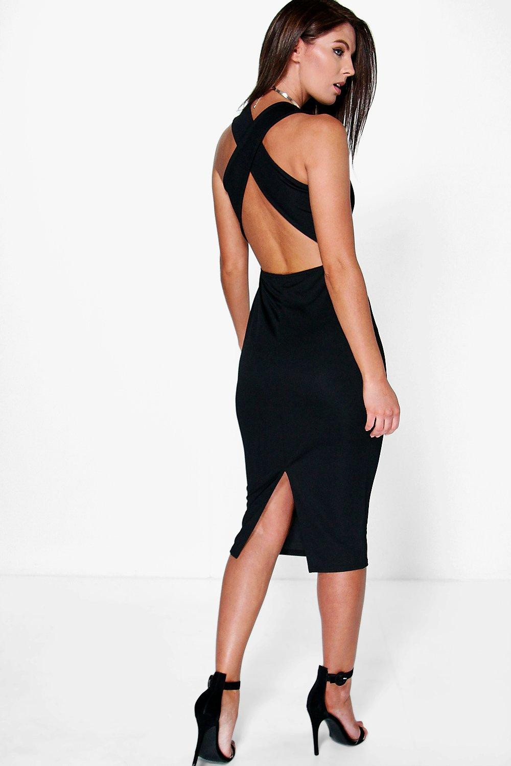 Iris Cross Back Detail Plunge Midi Bodycon Dress