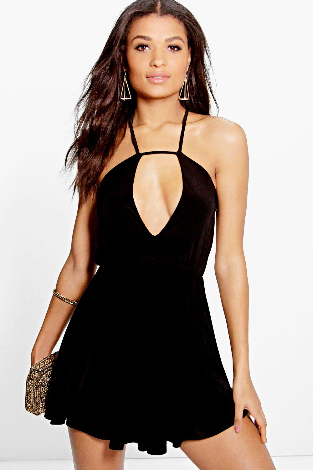 Avery Strappy Plunge Front Slinky Skater Dress