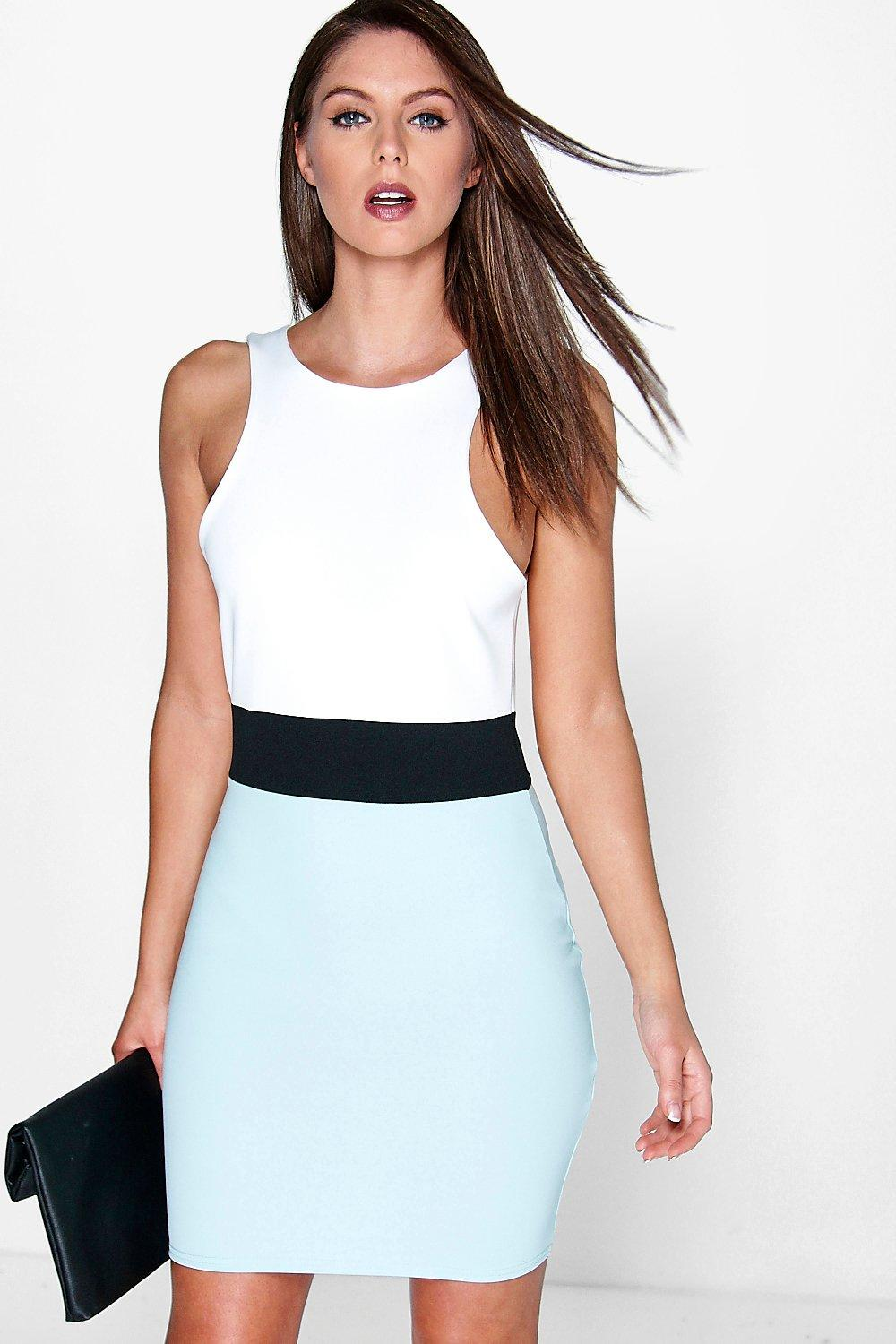 Kadence Racer Front Colour Block Bodycon Dress