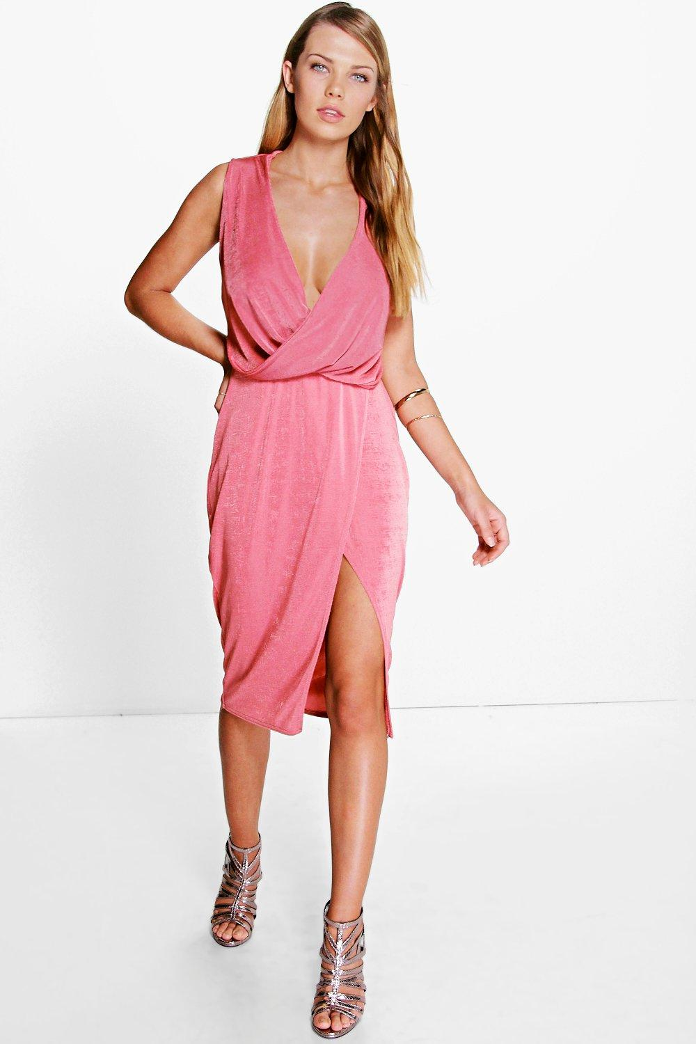 Hadley Slinky Drape & Wrap Skirt Midi Dress