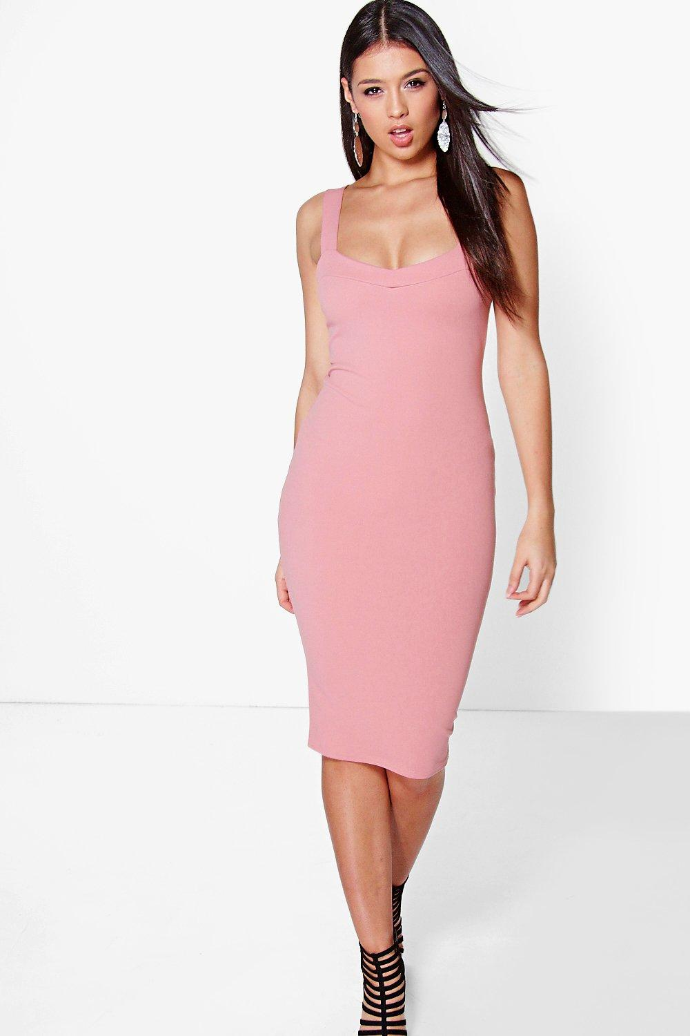 Amaryllis Crepe Strappy Midi Dress
