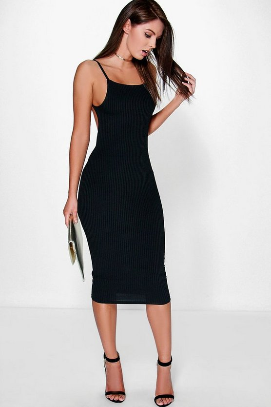 Margarita Ribbed Open Back Midi Bodycon Dress