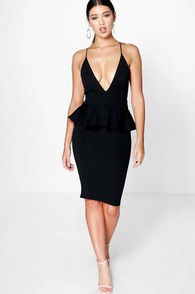 Freida Plunge Neck Strappy Peplum Midi Dress