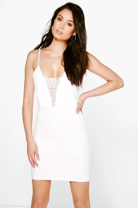 Willow Crepe Strappy Bodycon Dress With Lace Trim