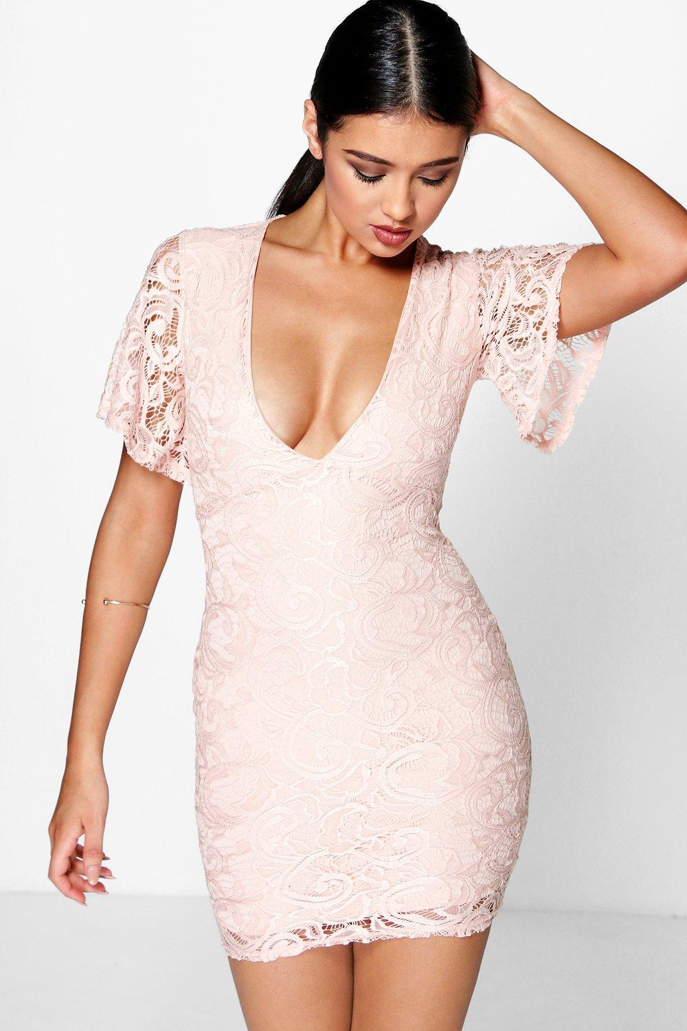 Sofia Lace Frill Sleeve Plunge Bodycon Dress