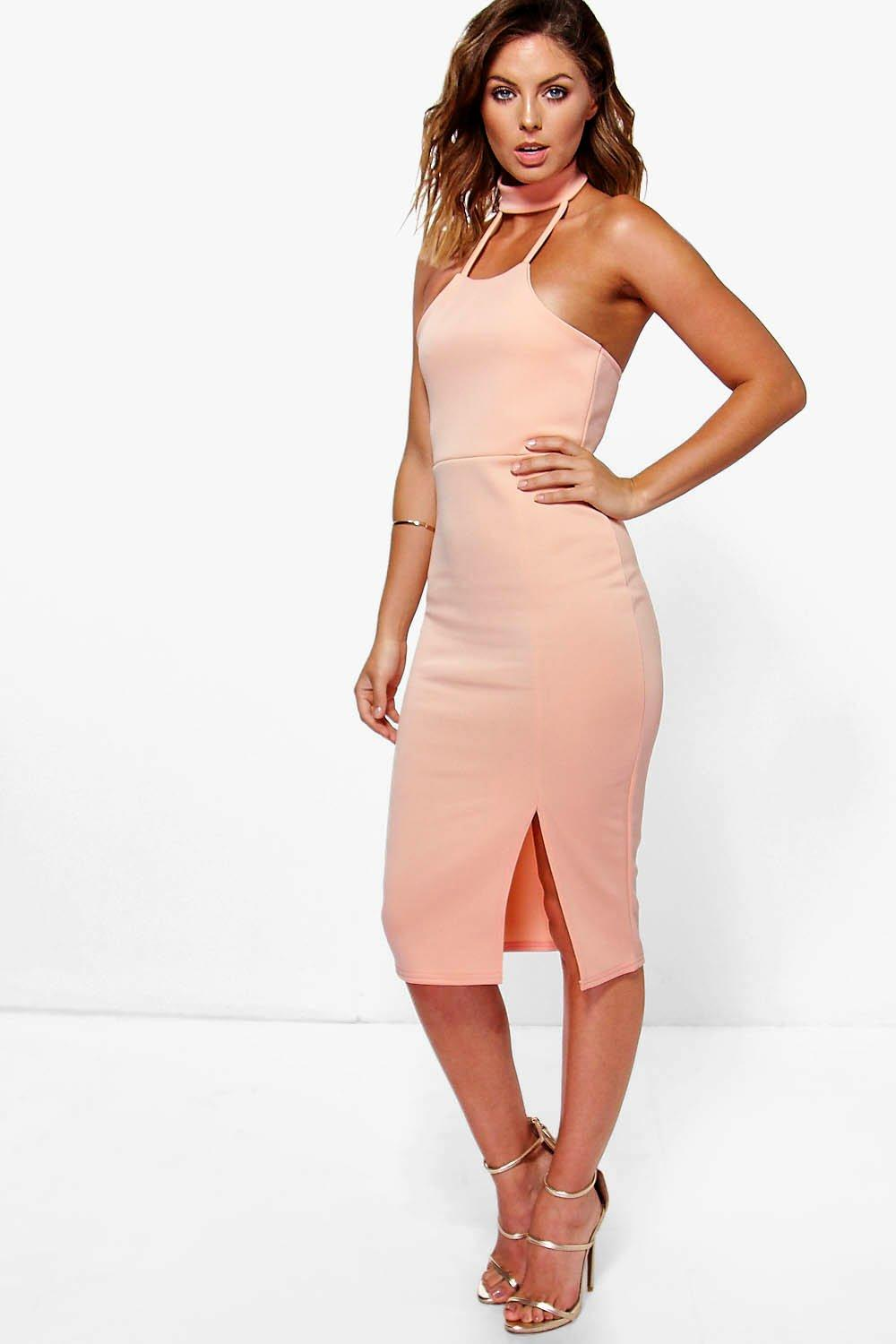 Issy Choker Detail Side Split Midi Dress
