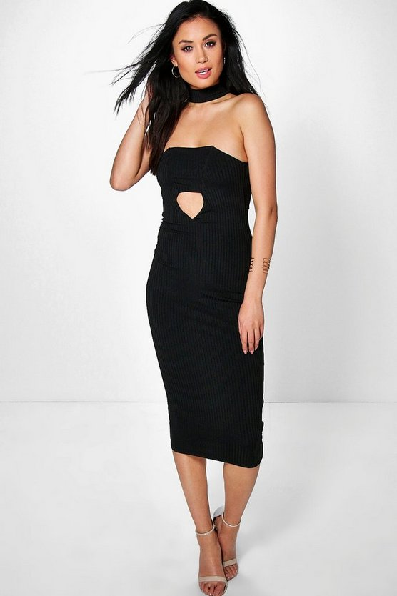 Leonie Ribbed Neck Band Bandeau Midi Dress