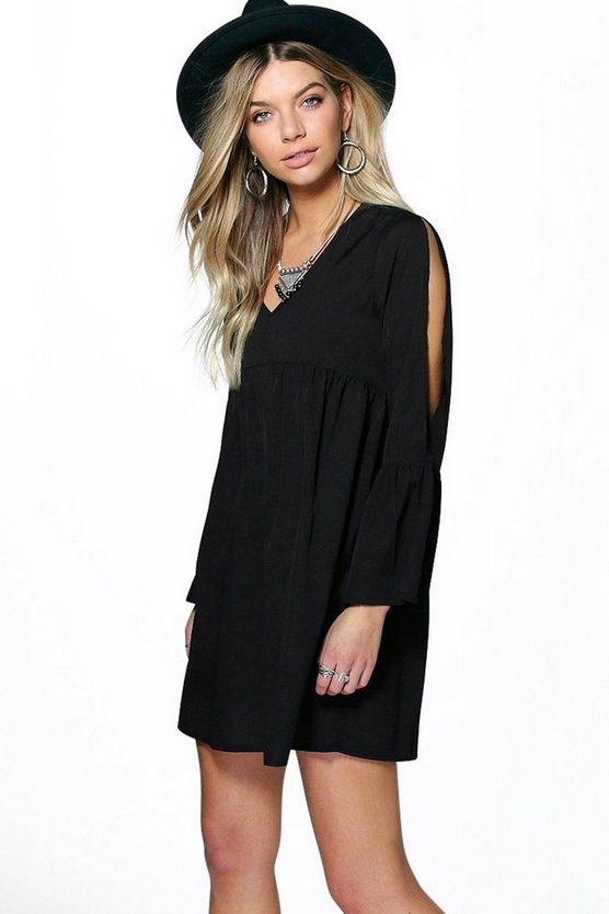 Lisa Cold Shoulder Woven Smock Dress