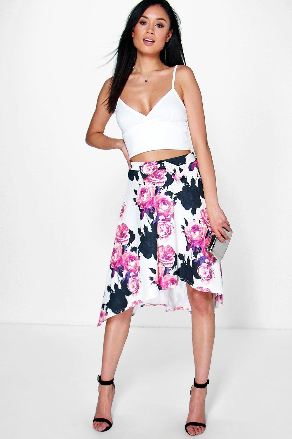 Aurora Bow Front Dipped Hem Floral Midi Skirt