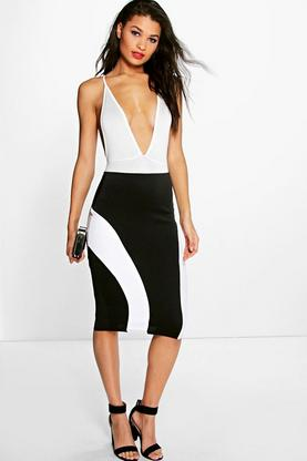 Loren Monochrome Block Colour Panel Midi Skirt