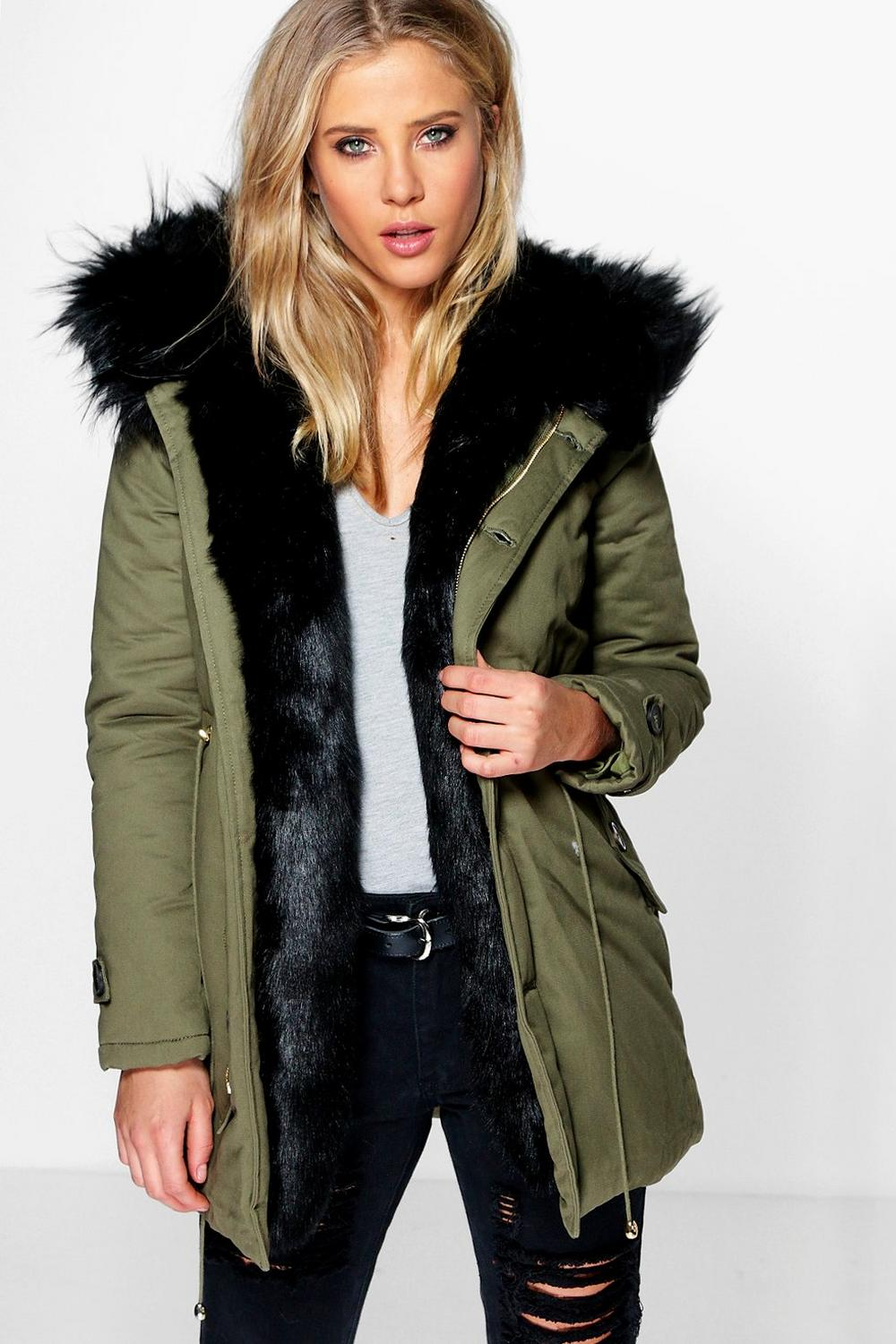 Fur trim hood cropped parka