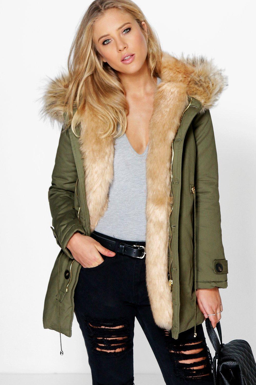 Boutique Maria Faux Fur Trim Parka | Boohoo