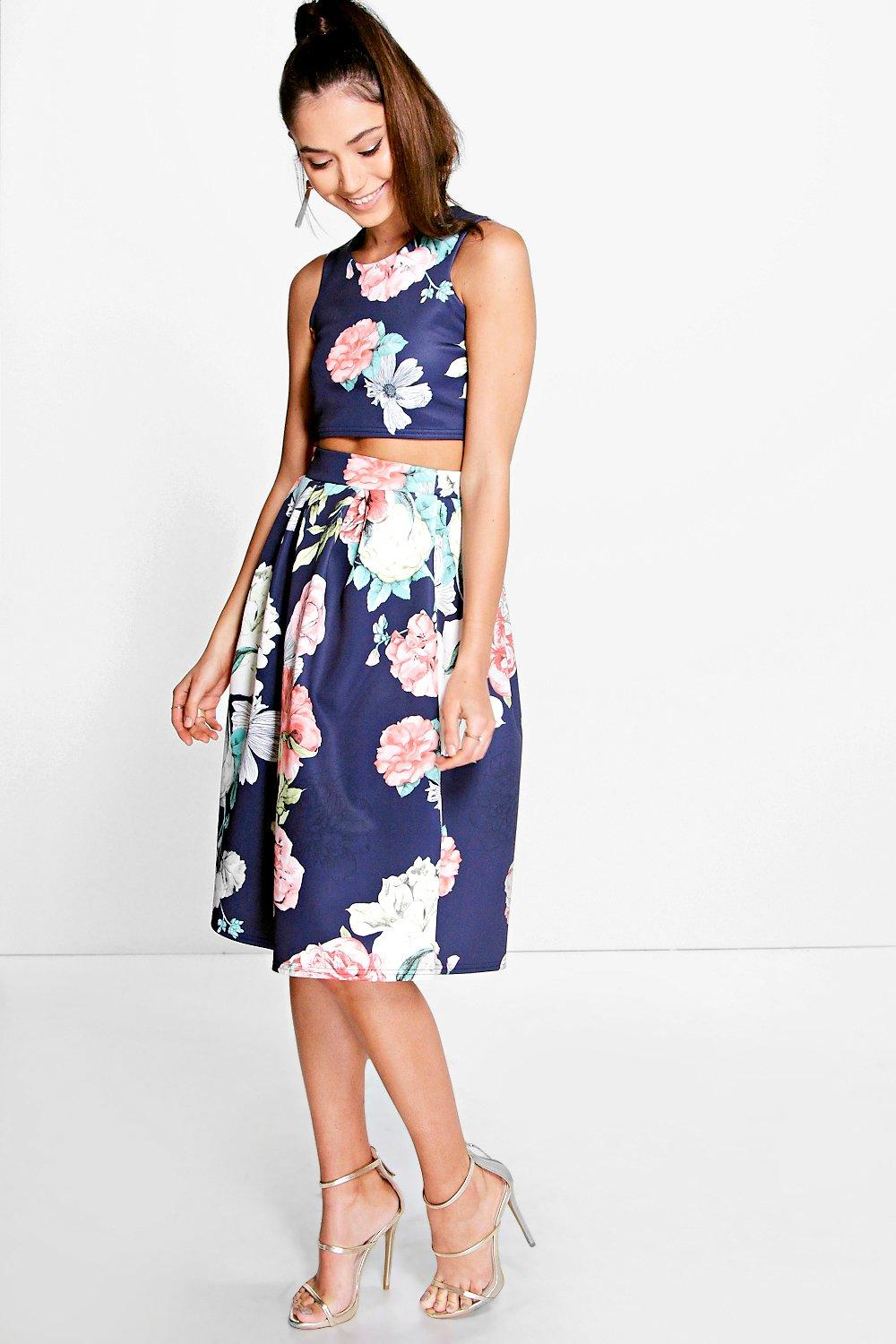 Visa Floral Box Pleat Midi Skirt Co-Ord Set | Boohoo