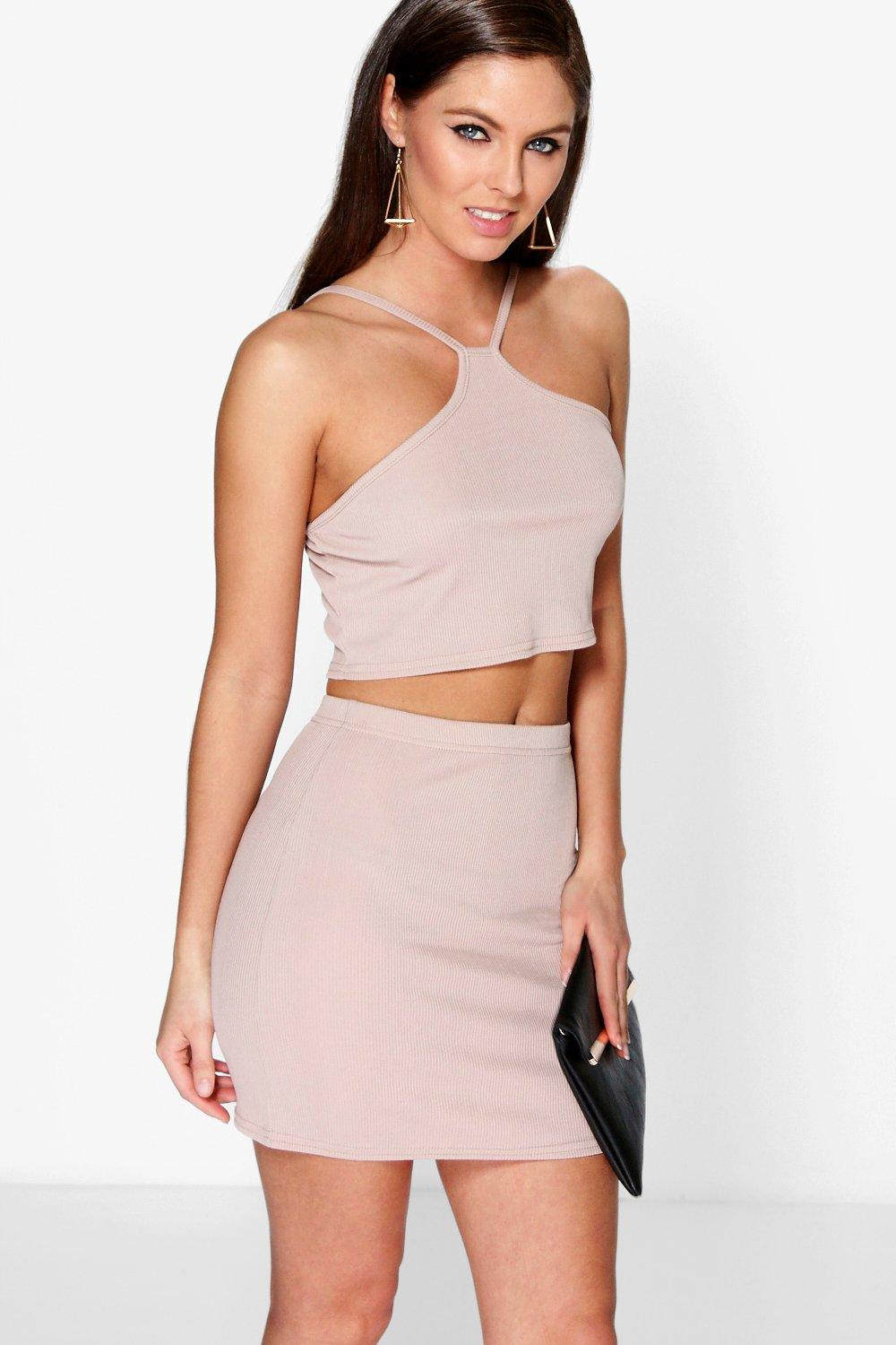 Roxy Ribbed Cut Away Top & Mini Skirt Co-Ord Set