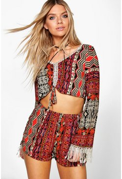Zita Crochet Trim Printed Shorts Co-Ord Set