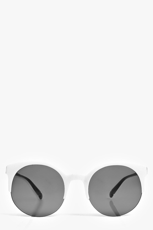 Round Half Frame Round Sunglasses  white