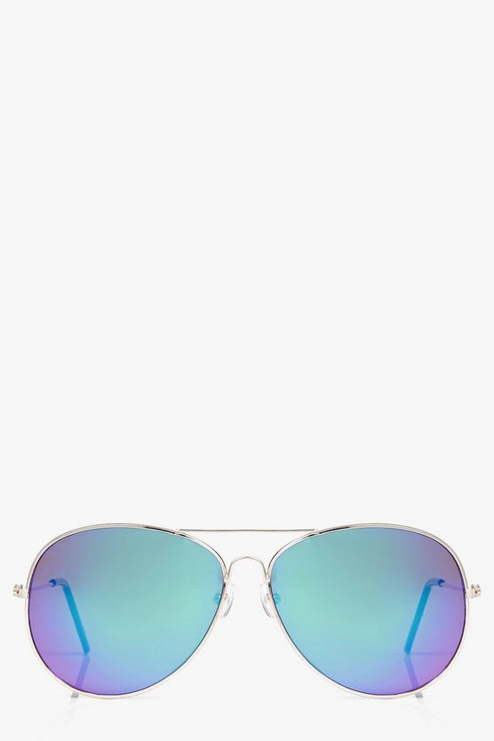 Ellie Gold Frame Mirror Lens Aviator Sunglasses