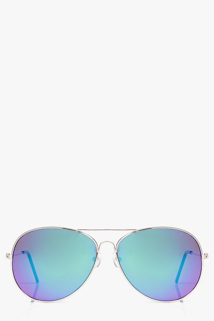 Ellie Gold Frame Revo Lens Aviator Sunglasses