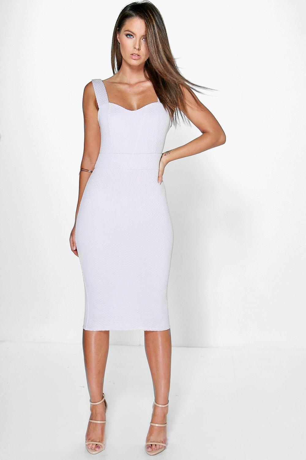 Dina Textured Sweetheart Neckline Midi Dress