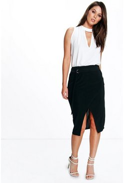 Sophia D Ring Wrap Over Slinky Midi Skirt
