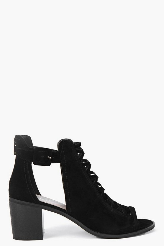 Maya Peeptoe Suedette Cross Detail Boot
