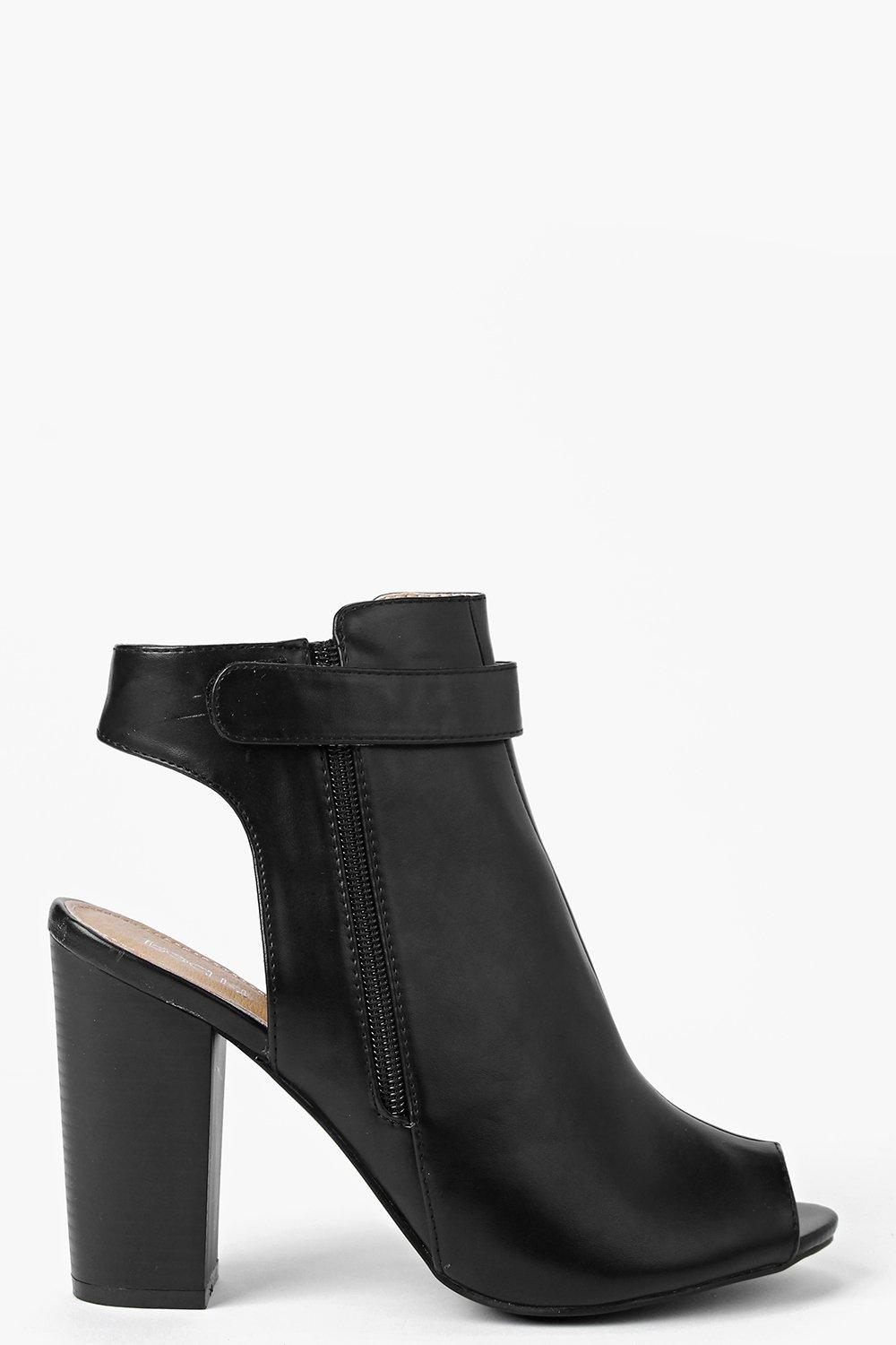 Rosie Peeptoe Open Back Heeled Shoe Boot