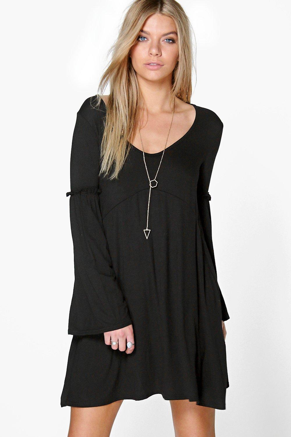 Ria Rutched Fluted Sleeve Dress