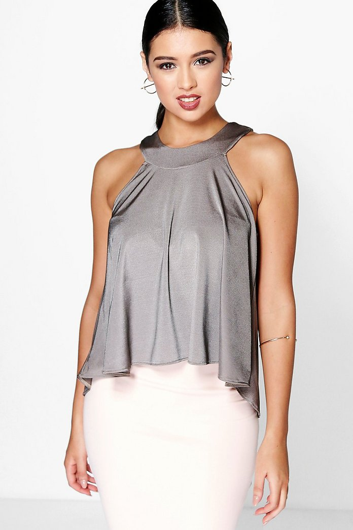 Erin Metallic Cut Out Swing Top