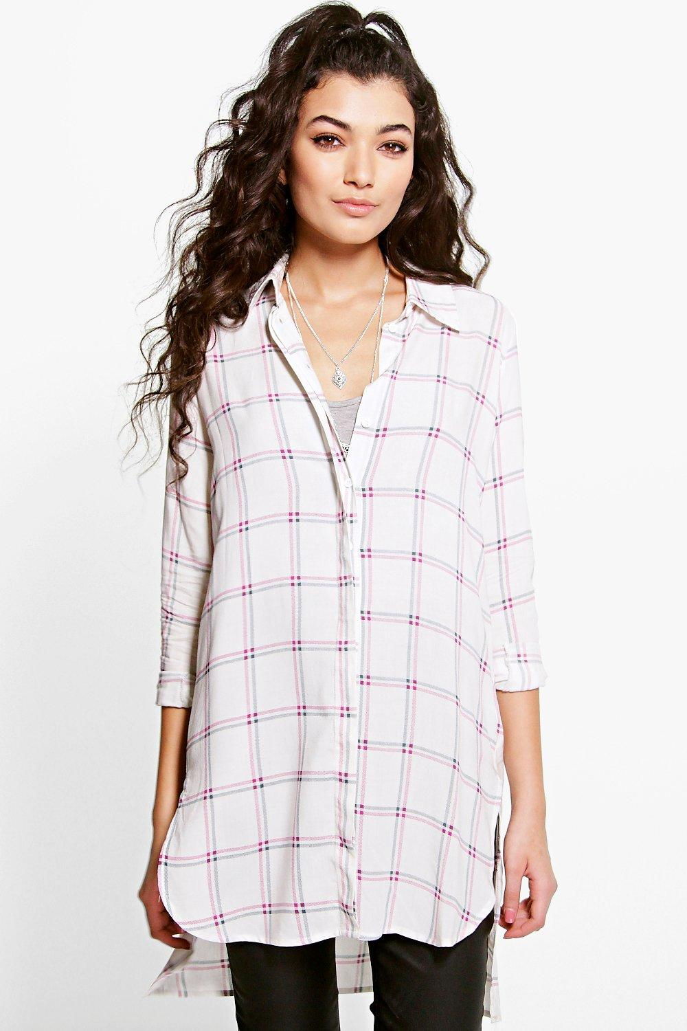 Rose Multi Check Longline Shirt