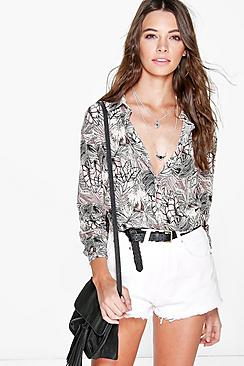 Olivia Tropical Print Oversized Shirt