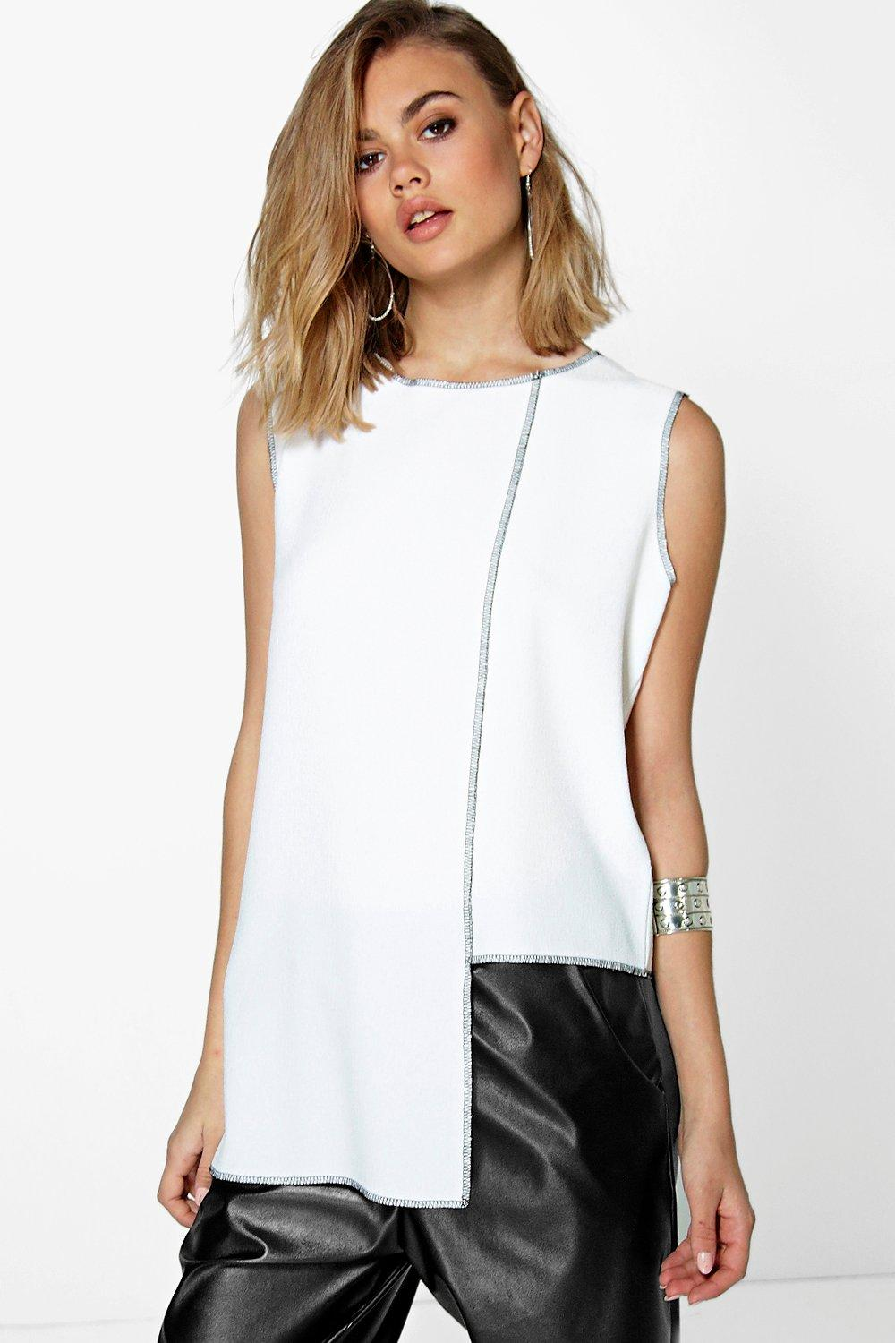 Niamh Drop Hem Shell Top With Contrast Edge