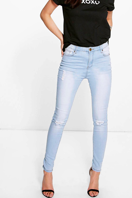 Ada Light Wash High Waisted Skinny Jeans. Hover to zoom - Ada Light Wash High Waisted Skinny Jeans Boohoo